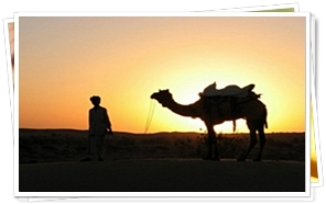 Sun Set view by Camel Safari at Jaisalmer